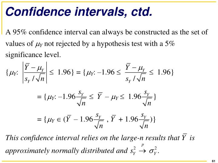 Confidence intervals, ctd.