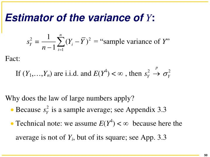 Estimator of the variance of