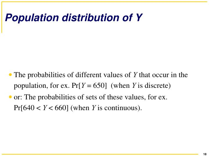 Population distribution of Y