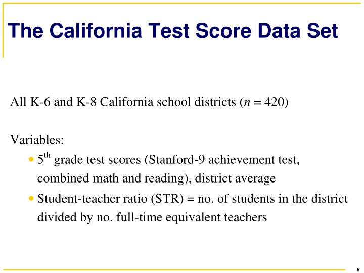 The California Test Score Data Set