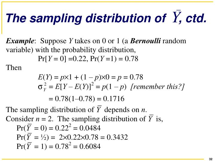 The sampling distribution of    , ctd.