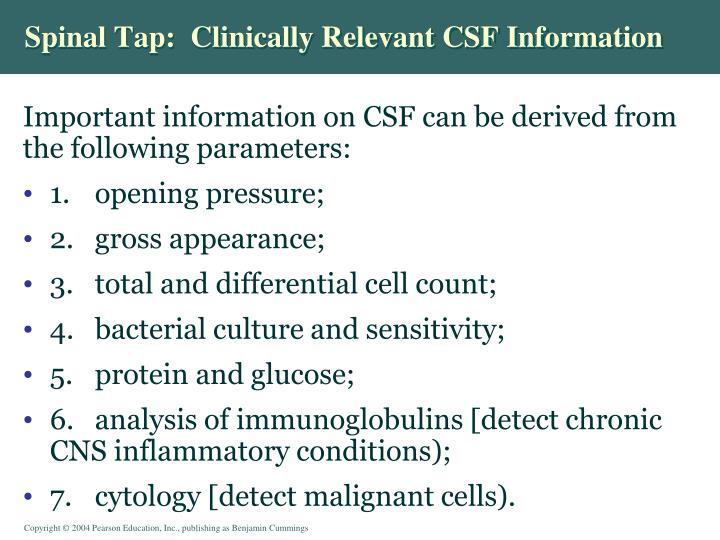 Spinal Tap:  Clinically Relevant CSF Information