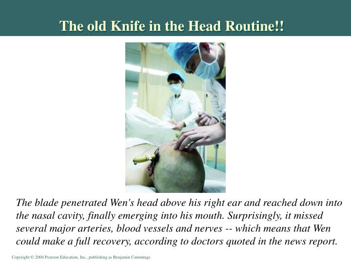 The old Knife in the Head Routine!!