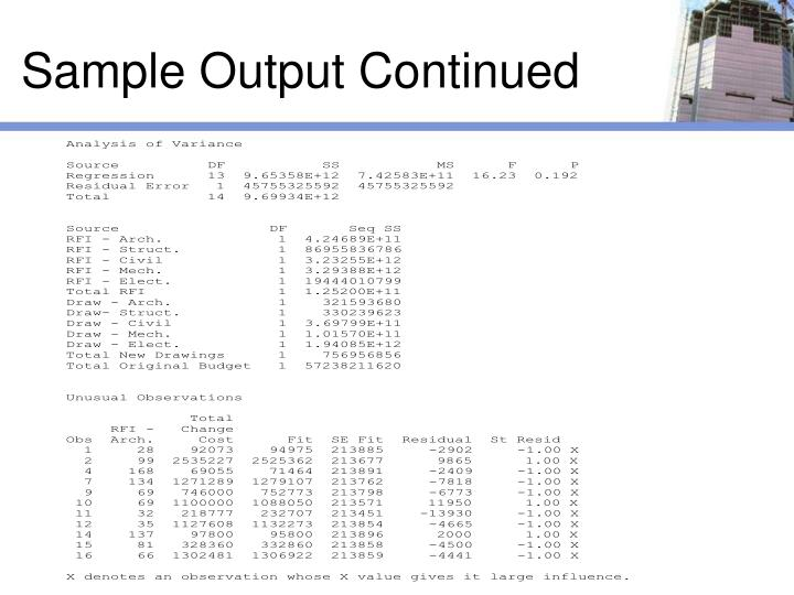 Sample Output Continued