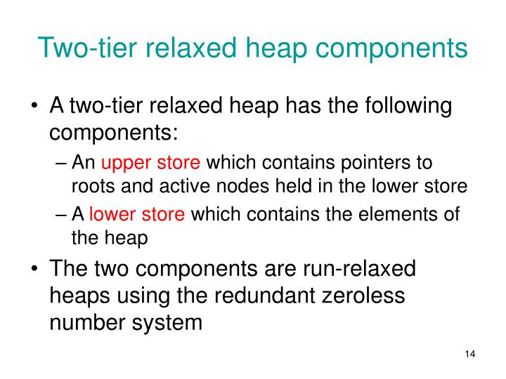 Two-tier relaxed heap components