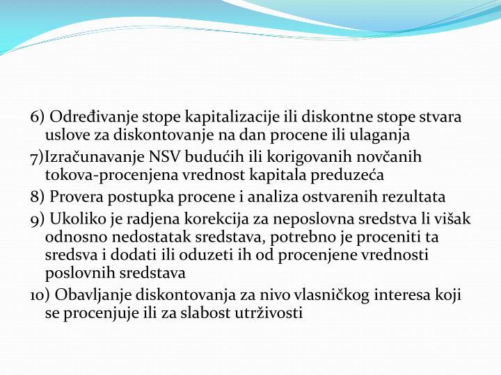 6) Određivanje stope kapitalizacije ili diskontne stope stvara uslove za diskontovanje na dan procene ili ulaganja