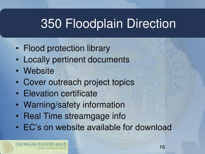350 Floodplain Direction