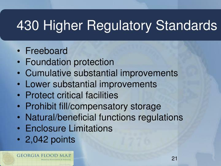 430 Higher Regulatory Standards