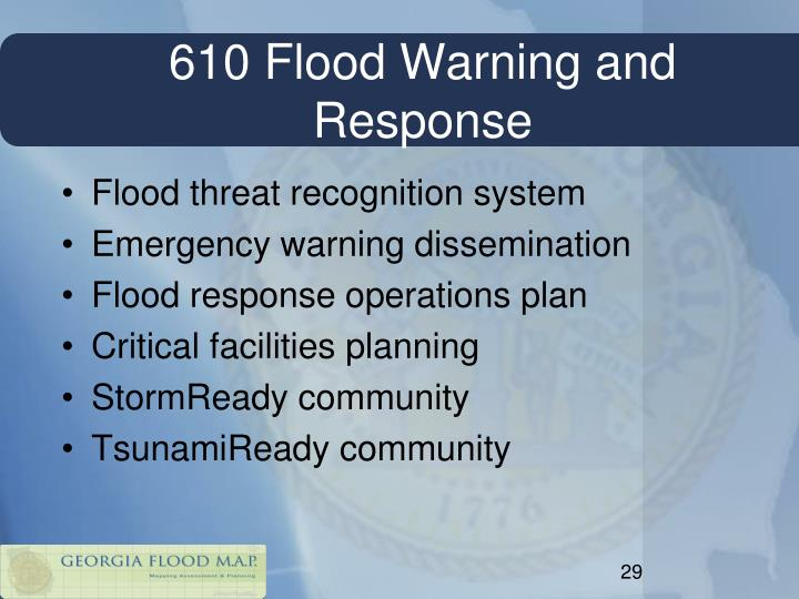 610 Flood Warning and Response