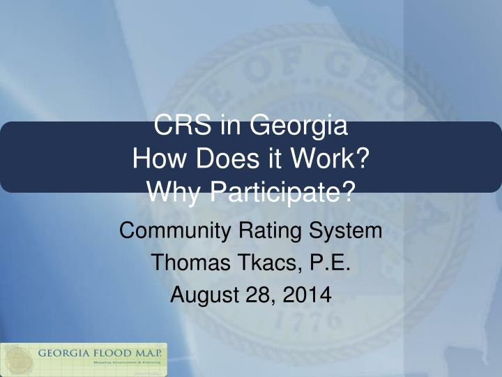Crs in georgia how does it work why participate