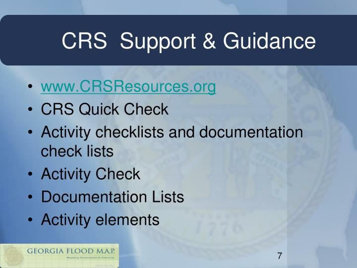 CRS  Support & Guidance