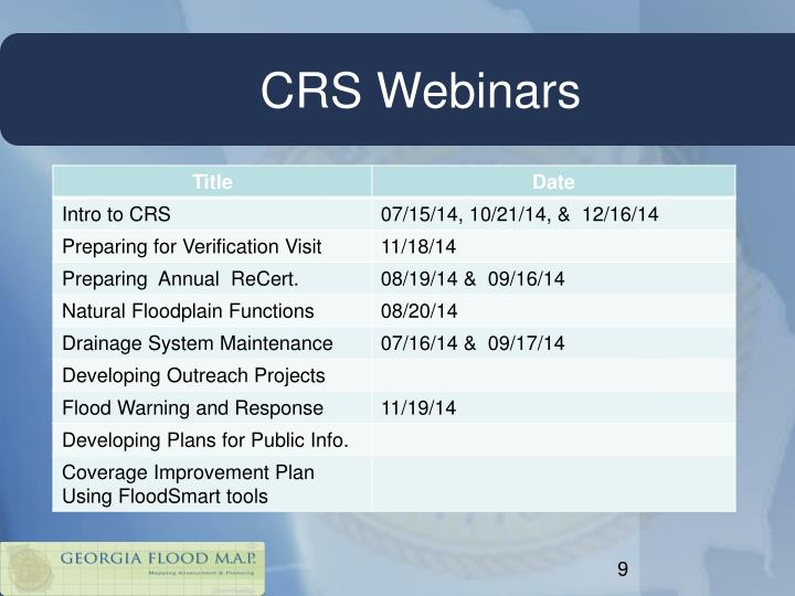 CRS Webinars