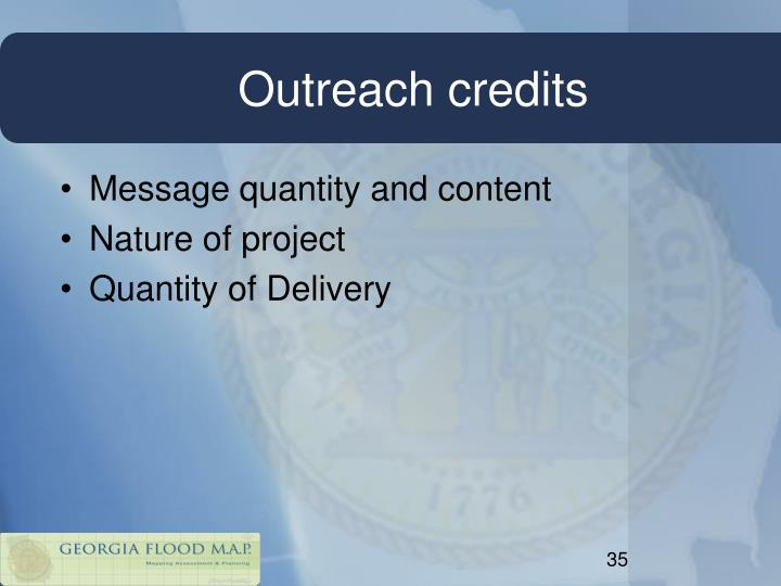 Outreach credits