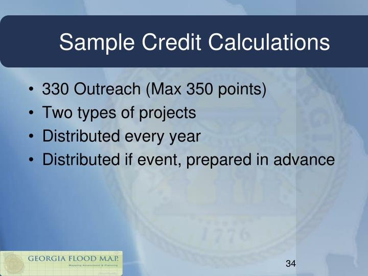 Sample Credit Calculations