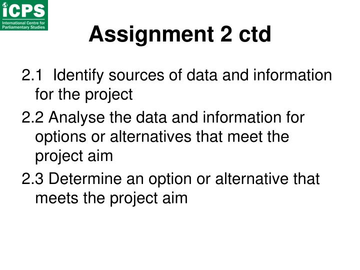 Assignment 2 ctd