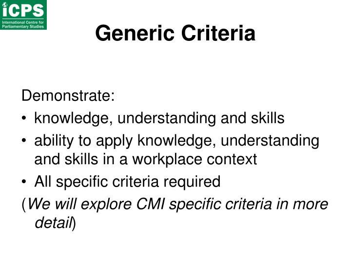 Generic Criteria