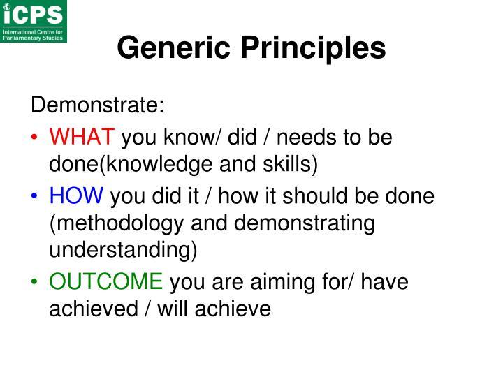 Generic Principles