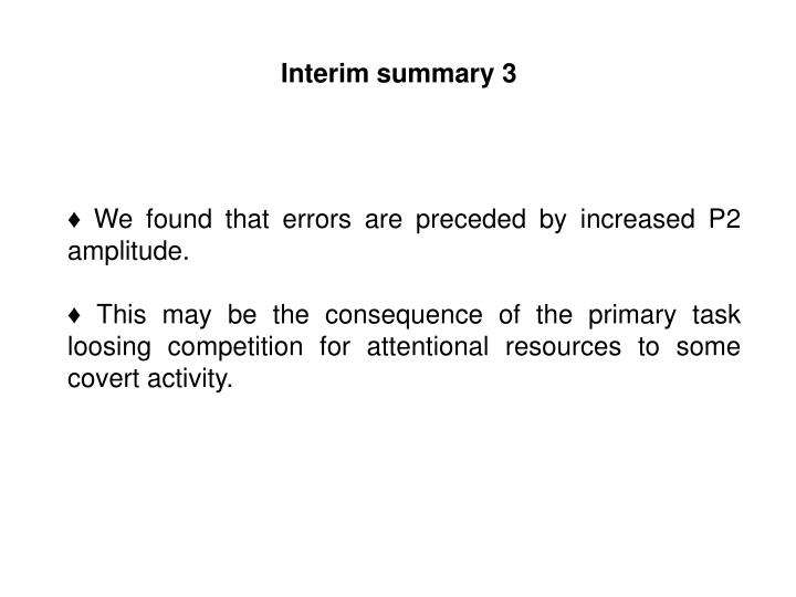 Interim summary 3