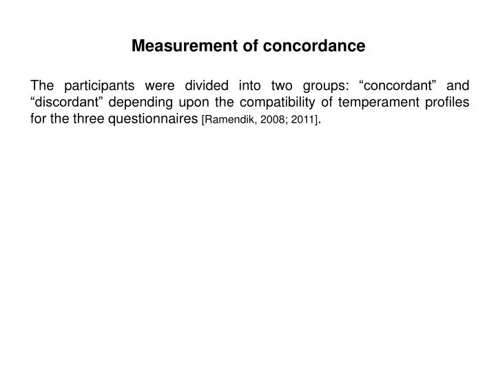Measurement of concordance