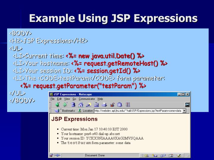 Example Using JSP Expressions
