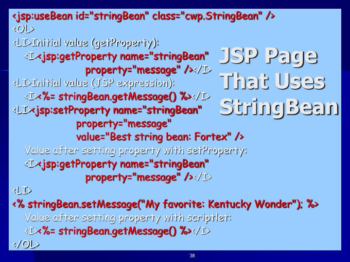 JSP Page That Uses StringBean