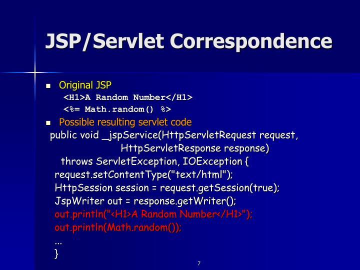 JSP/Servlet Correspondence