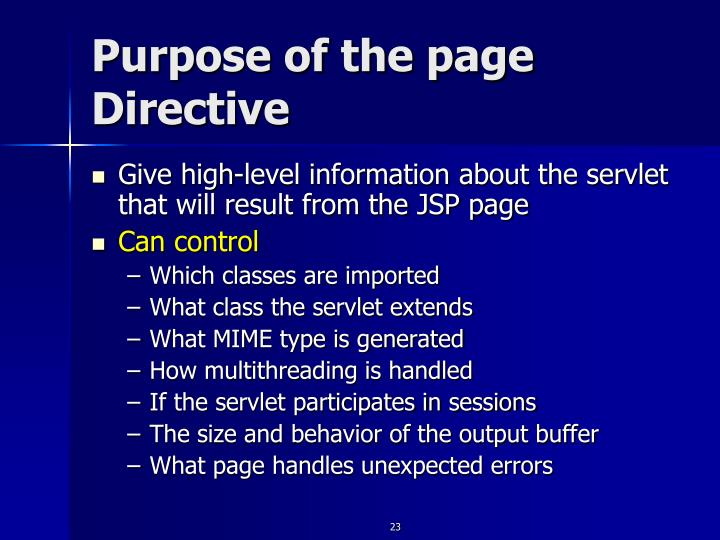 Purpose of the page Directive