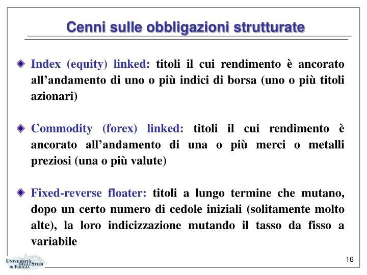 Cenni sulle obbligazioni strutturate