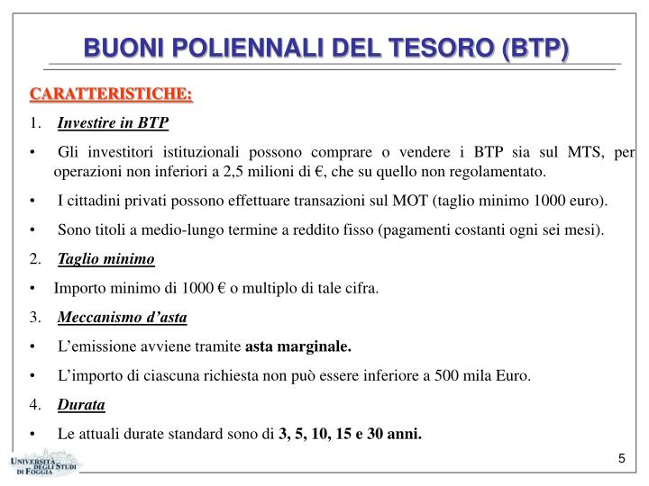 BUONI POLIENNALI DEL TESORO (BTP)
