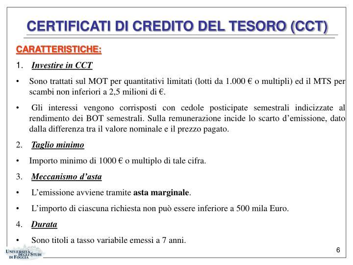 CERTIFICATI DI CREDITO DEL TESORO (CCT)