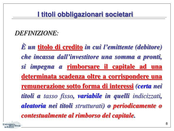 I titoli obbligazionari societari