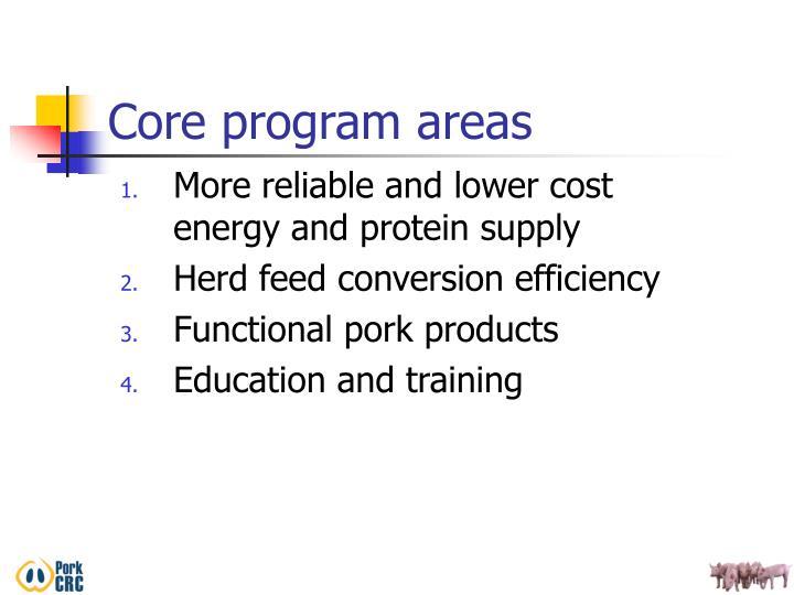 Core program areas