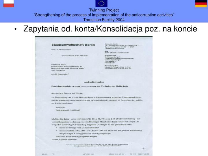 Zapytania od. konta/Konsolidacja poz. na koncie