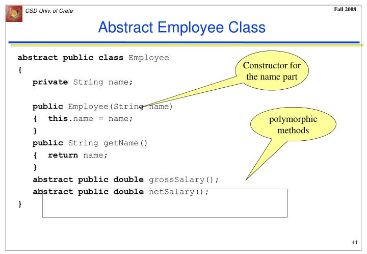 Abstract Employee Class