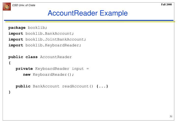 AccountReader Example