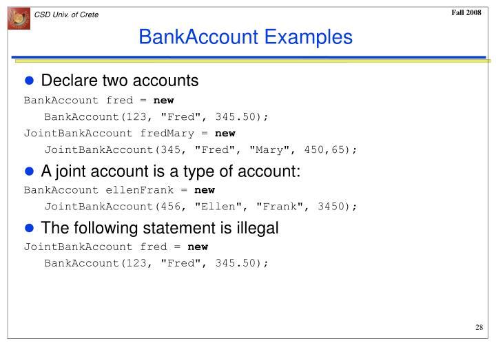 BankAccount Examples