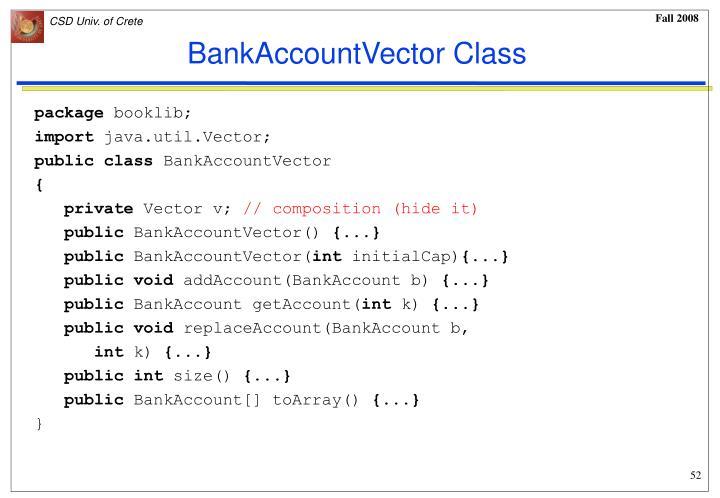 BankAccountVector Class