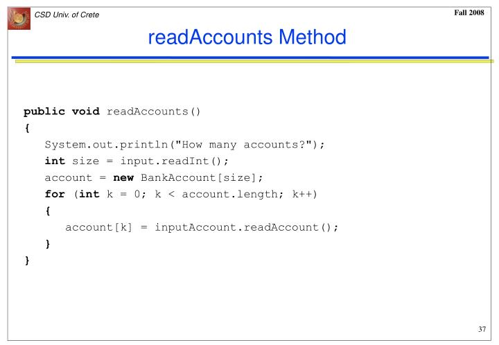 readAccounts Method