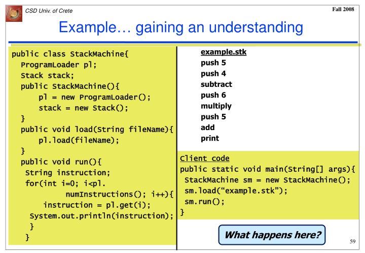 Example… gaining an understanding
