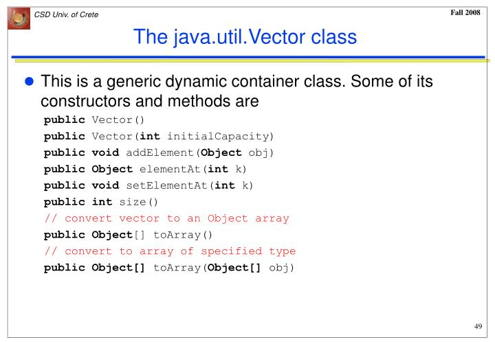 The java.util.Vector class