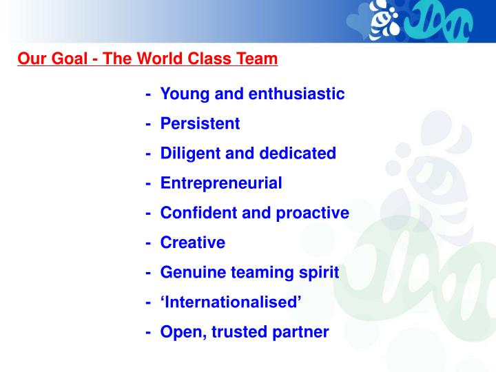 Our Goal - The World Class Team