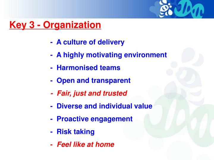 Key 3 - Organization