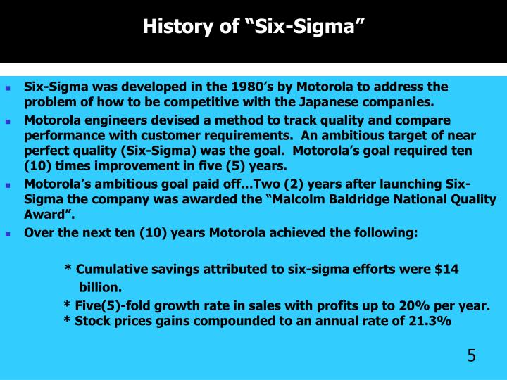 "History of ""Six-Sigma"""