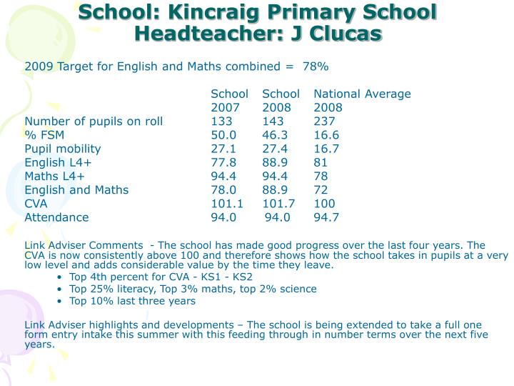 2009 Target for English and Maths combined =  78%