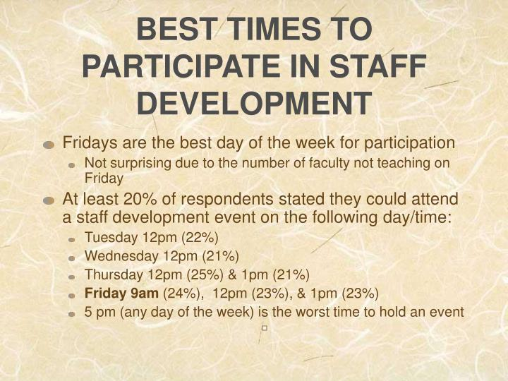 BEST TIMES TO PARTICIPATE IN STAFF DEVELOPMENT