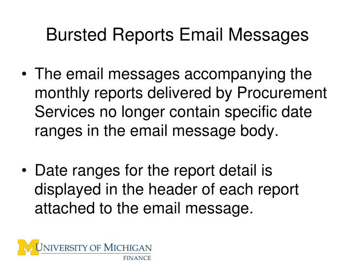 Bursted Reports Email Messages