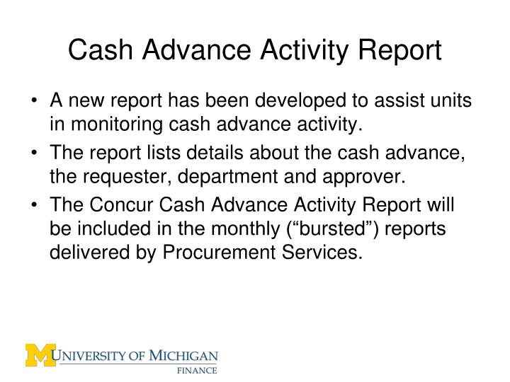 Cash Advance Activity Report