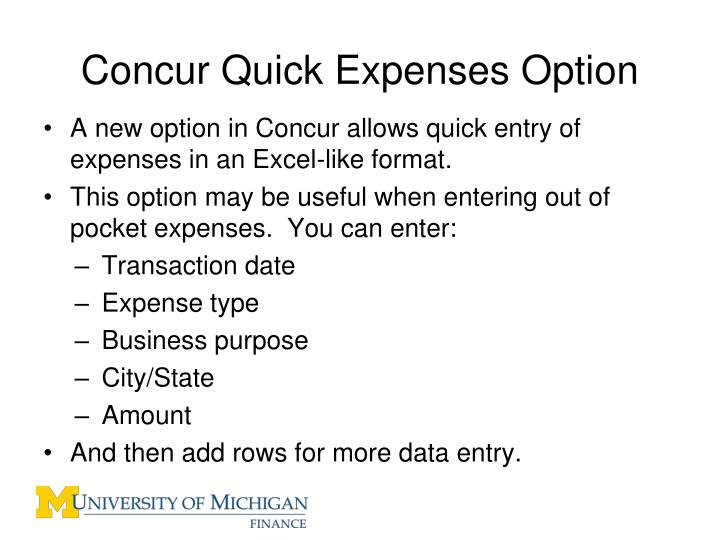 Concur Quick Expenses Option
