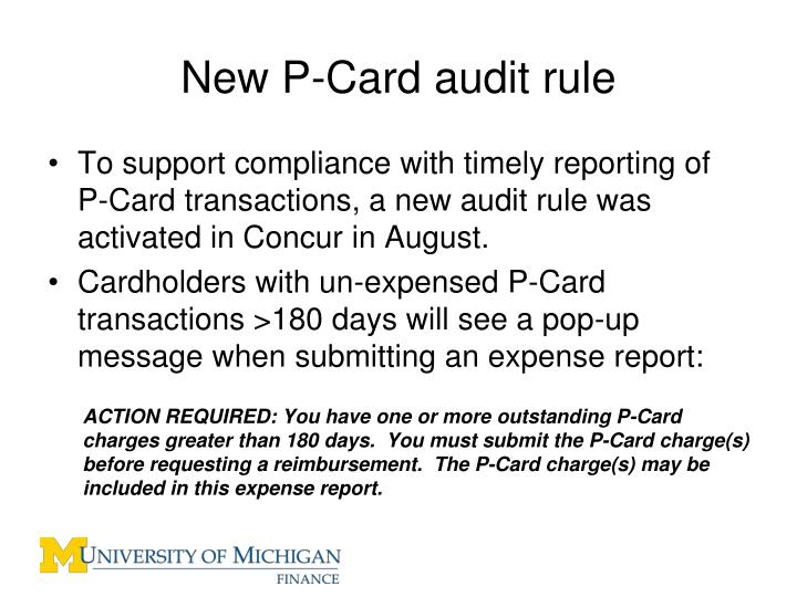 New P-Card audit rule