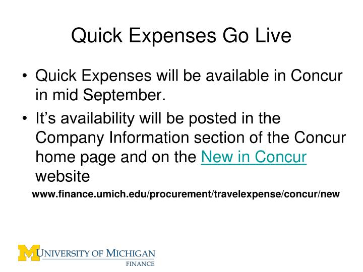 Quick Expenses Go Live